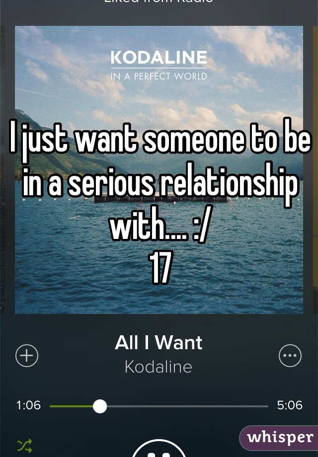 I just want someone to be in a serious relationship with.... :/  17