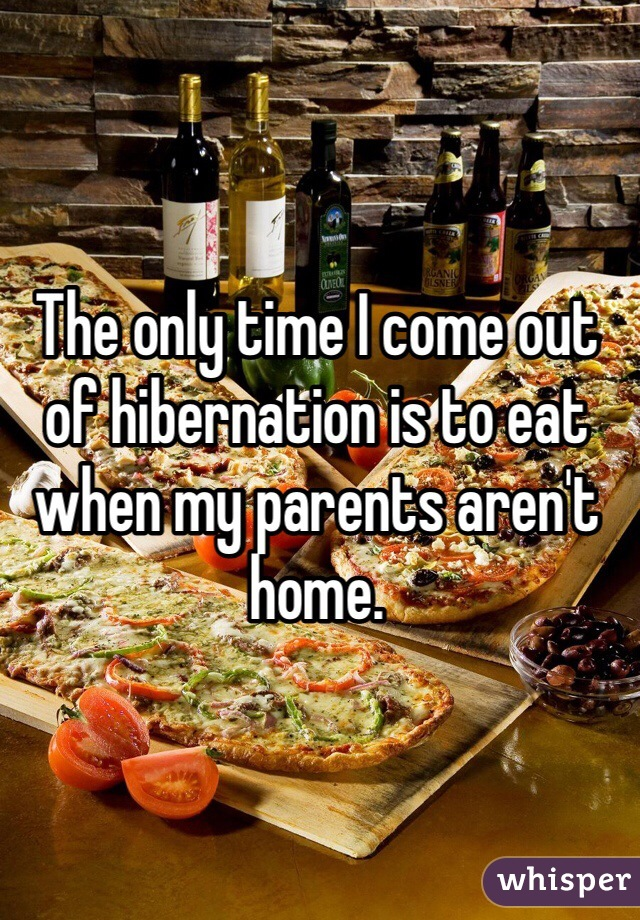 The only time I come out of hibernation is to eat when my parents aren't home.