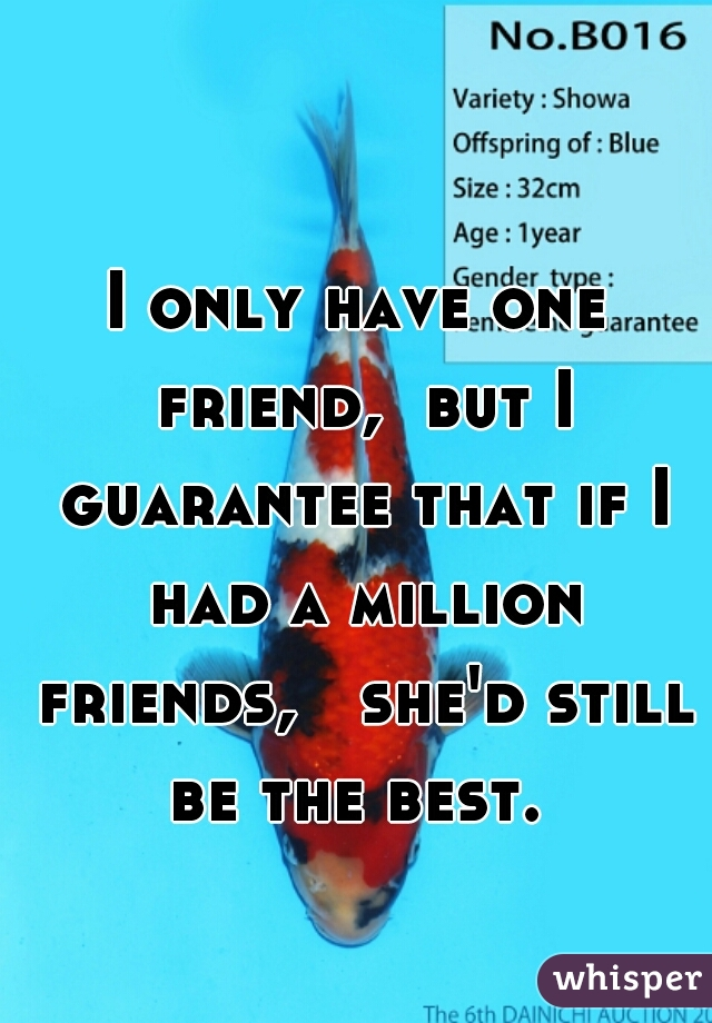 I only have one friend,  but I guarantee that if I had a million friends,   she'd still be the best.