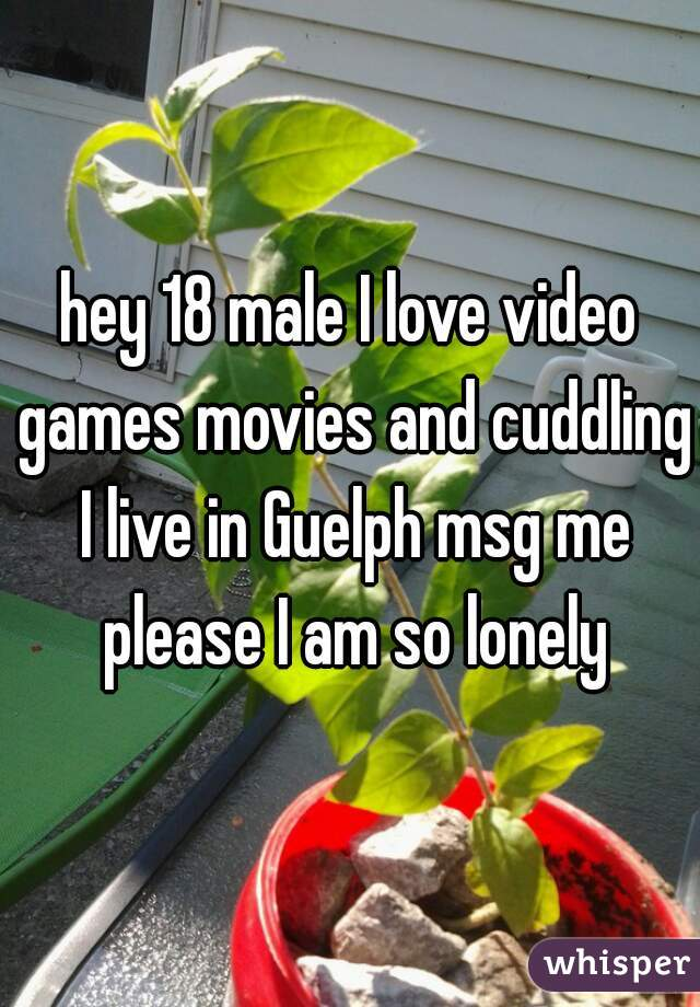 hey 18 male I love video games movies and cuddling I live in Guelph msg me please I am so lonely