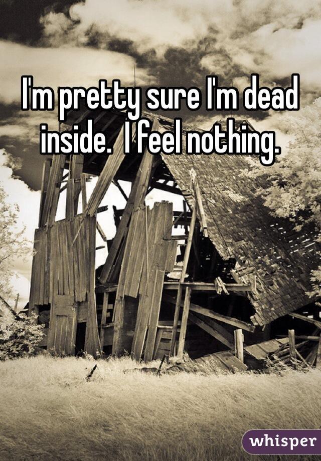 I'm pretty sure I'm dead inside.  I feel nothing.