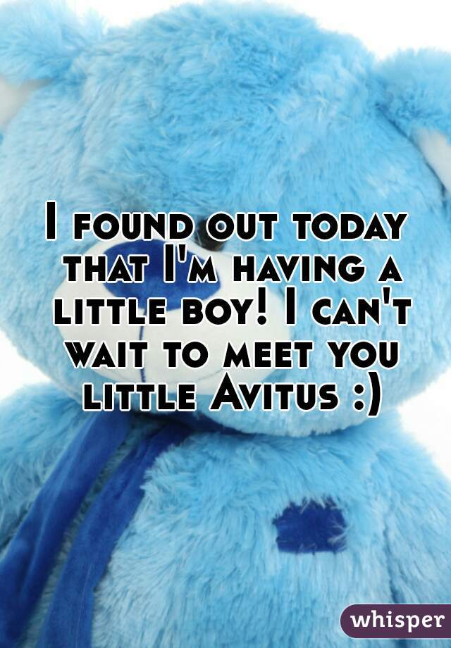I found out today that I'm having a little boy! I can't wait to meet you little Avitus :)