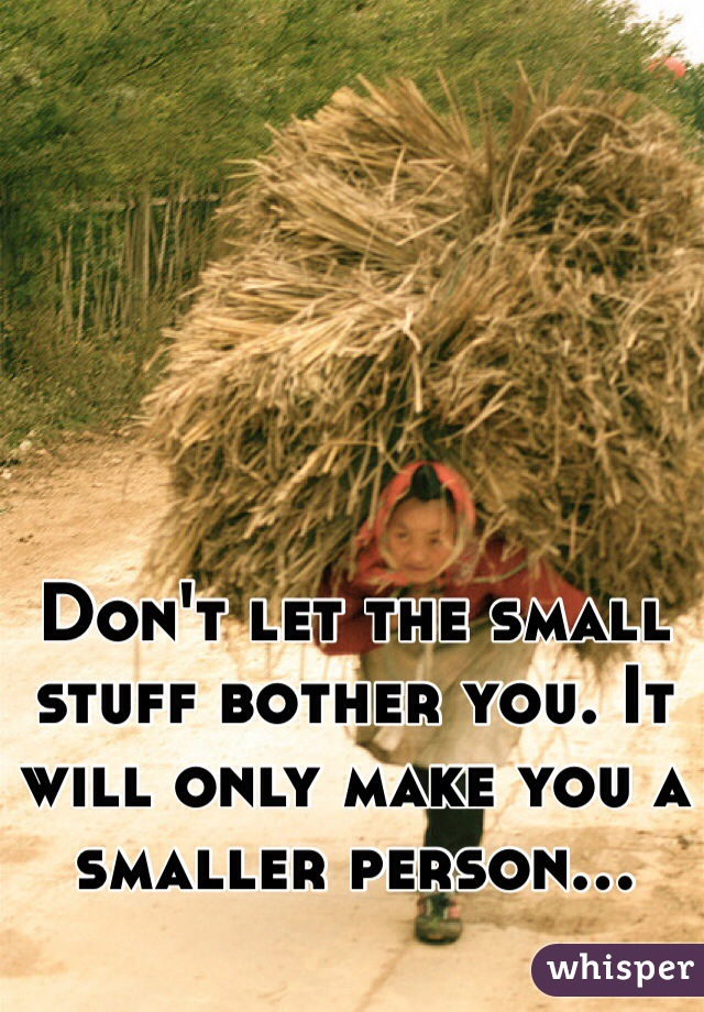 Don't let the small stuff bother you. It will only make you a smaller person...