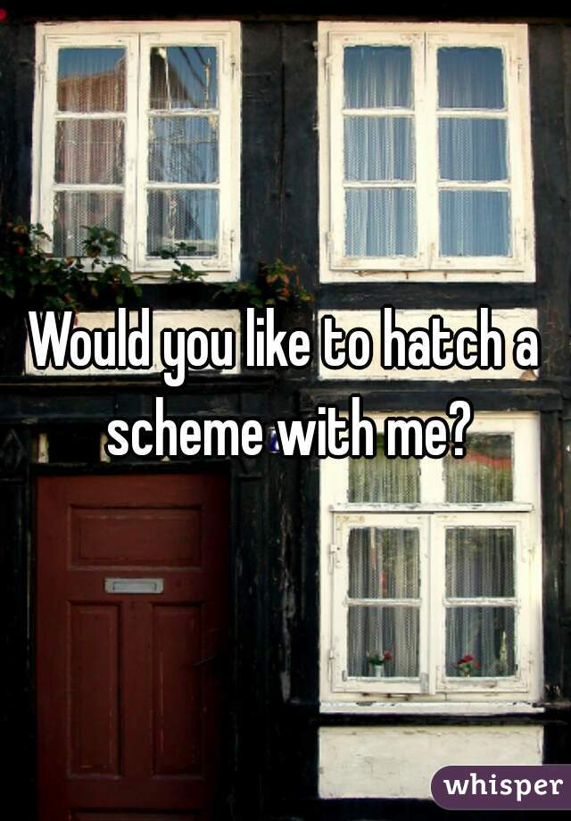 Would you like to hatch a scheme with me?
