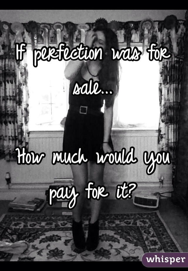 If perfection was for sale...  How much would you pay for it?