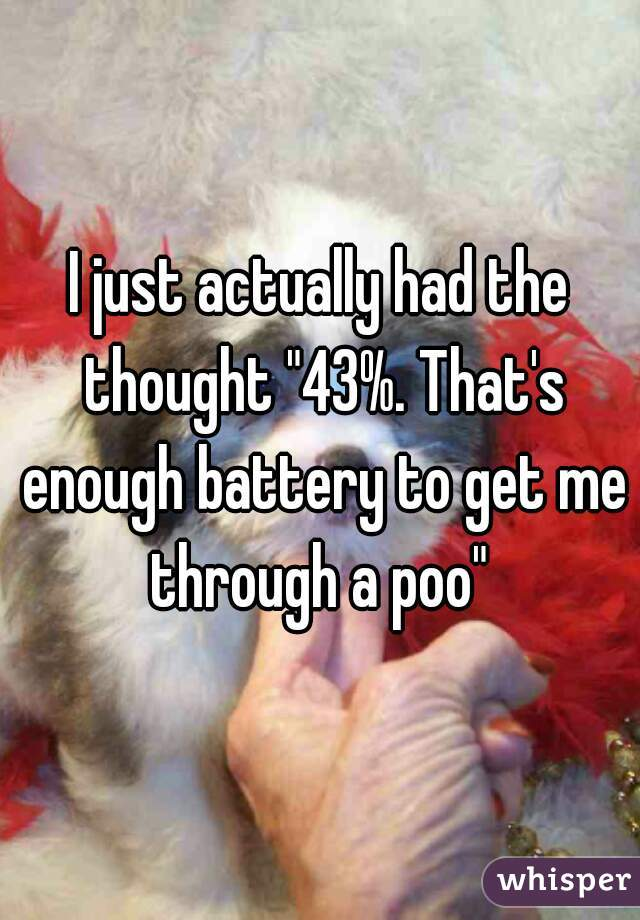"""I just actually had the thought """"43%. That's enough battery to get me through a poo"""""""