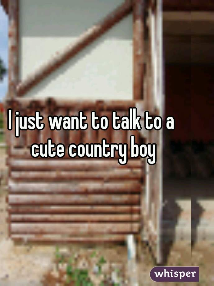 I just want to talk to a cute country boy