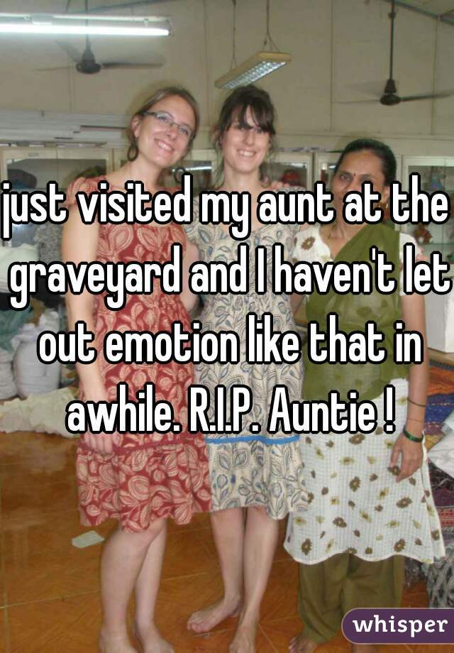 just visited my aunt at the graveyard and I haven't let out emotion like that in awhile. R.I.P. Auntie !