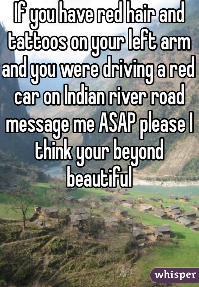 If you have red hair and tattoos on your left arm and you were driving a red car on Indian river road message me ASAP please I think your beyond beautiful