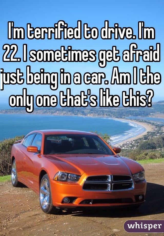 I'm terrified to drive. I'm 22. I sometimes get afraid just being in a car. Am I the only one that's like this?
