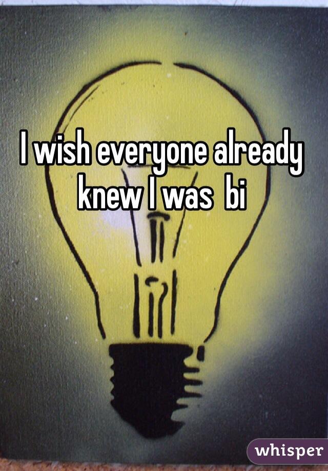 I wish everyone already knew I was  bi