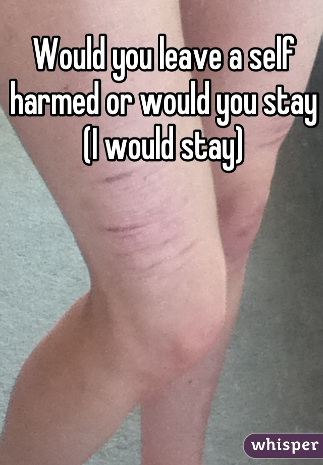 Would you leave a self harmed or would you stay (I would stay)