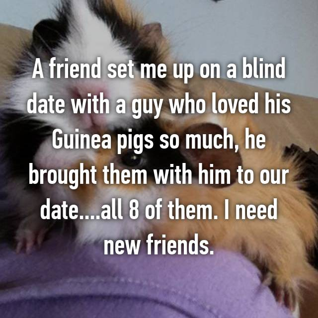 A friend set me up on a blind date with a guy who loved his Guinea pigs so much, he brought them with him to our date....all 8 of them. I need new friends.