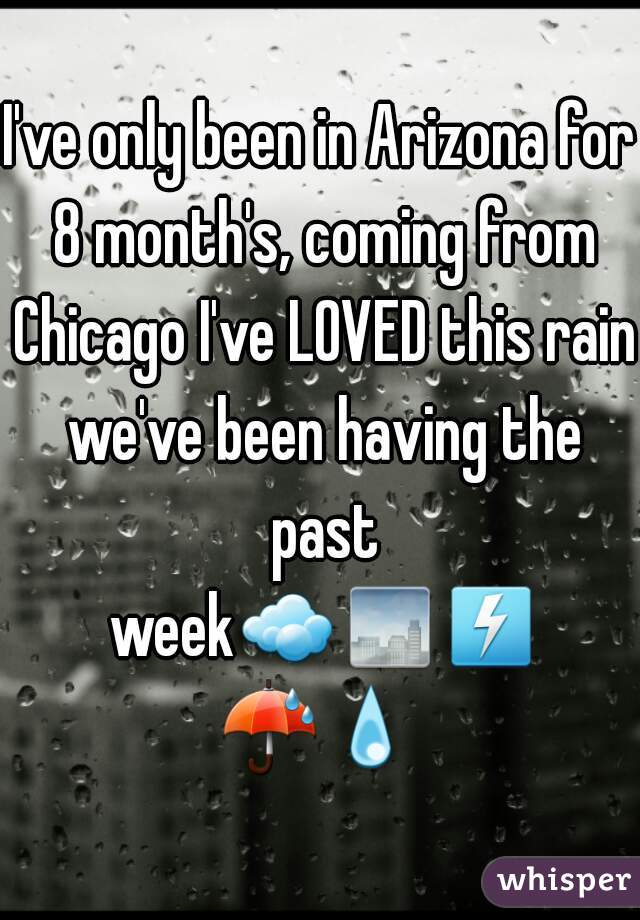 I've only been in Arizona for 8 month's, coming from Chicago I've LOVED this rain we've been having the past week☁🌁⚡☔💧