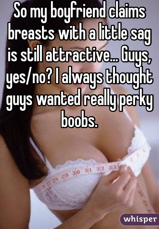 So my boyfriend claims breasts with a little sag is still attractive... Guys, yes/no? I always thought guys wanted really perky boobs.