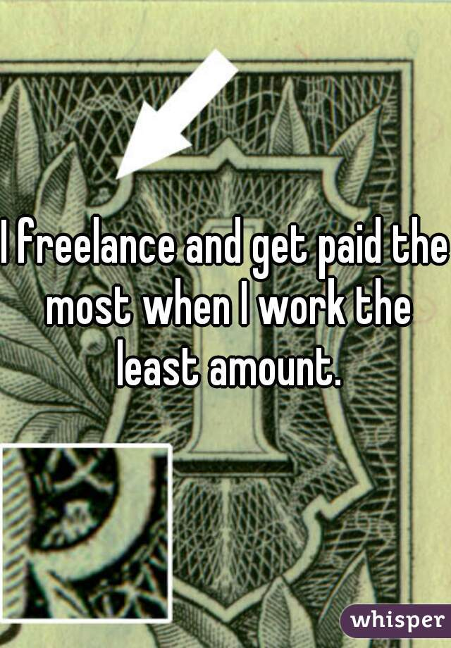 I freelance and get paid the most when I work the least amount.
