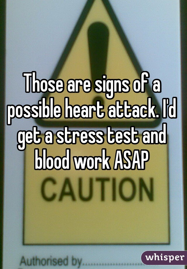 Those are signs of a possible heart attack. I'd get a stress test and blood work ASAP