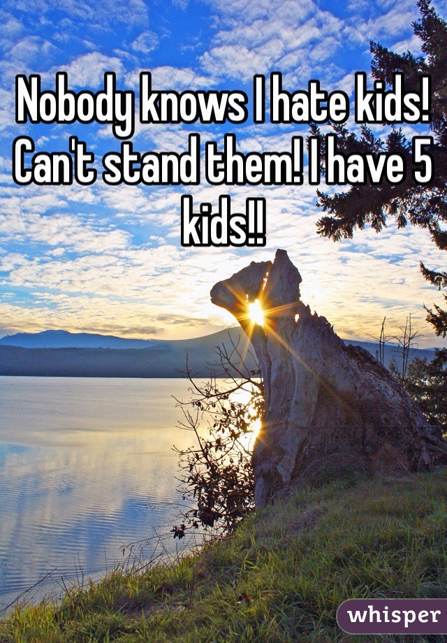 Nobody knows I hate kids! Can't stand them! I have 5 kids!!