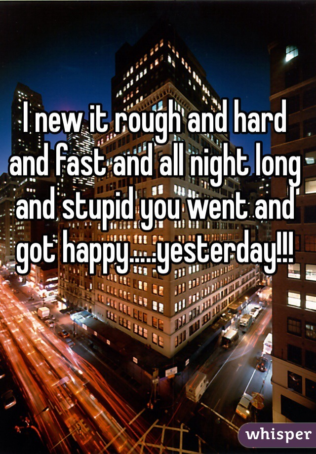 I new it rough and hard and fast and all night long and stupid you went and got happy.....yesterday!!!