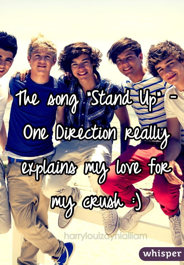 """The song """"Stand Up"""" - One Direction really explains my love for my crush :)"""