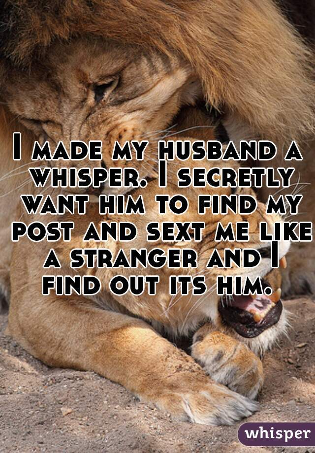 I made my husband a whisper. I secretly want him to find my post and sext me like a stranger and I find out its him.