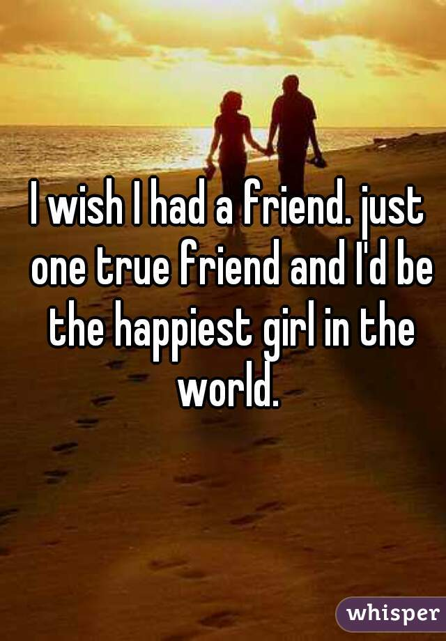 I wish I had a friend. just one true friend and I'd be the happiest girl in the world.