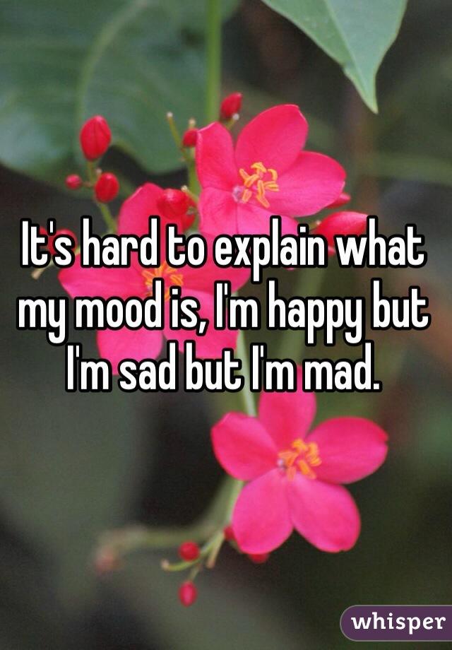It's hard to explain what my mood is, I'm happy but I'm sad but I'm mad.