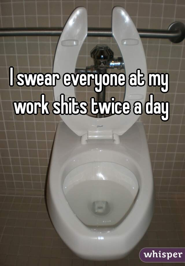 I swear everyone at my work shits twice a day
