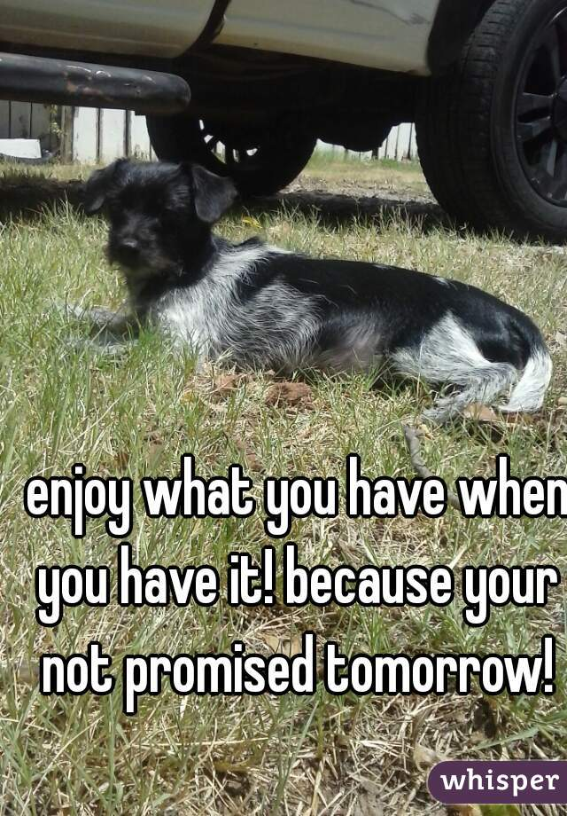 enjoy what you have when you have it! because your not promised tomorrow!