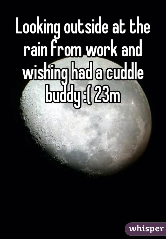 Looking outside at the rain from work and wishing had a cuddle buddy :( 23m