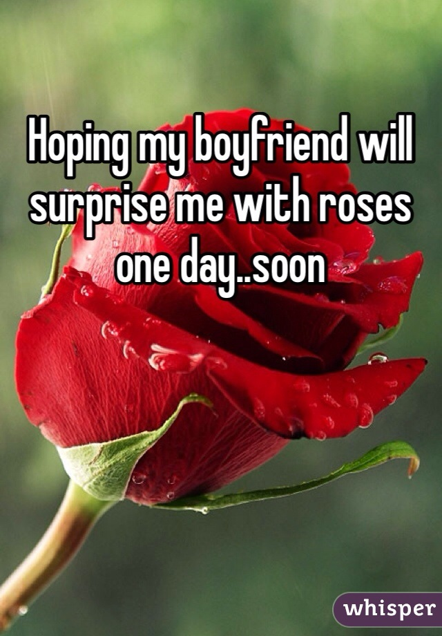 Hoping my boyfriend will surprise me with roses one day..soon