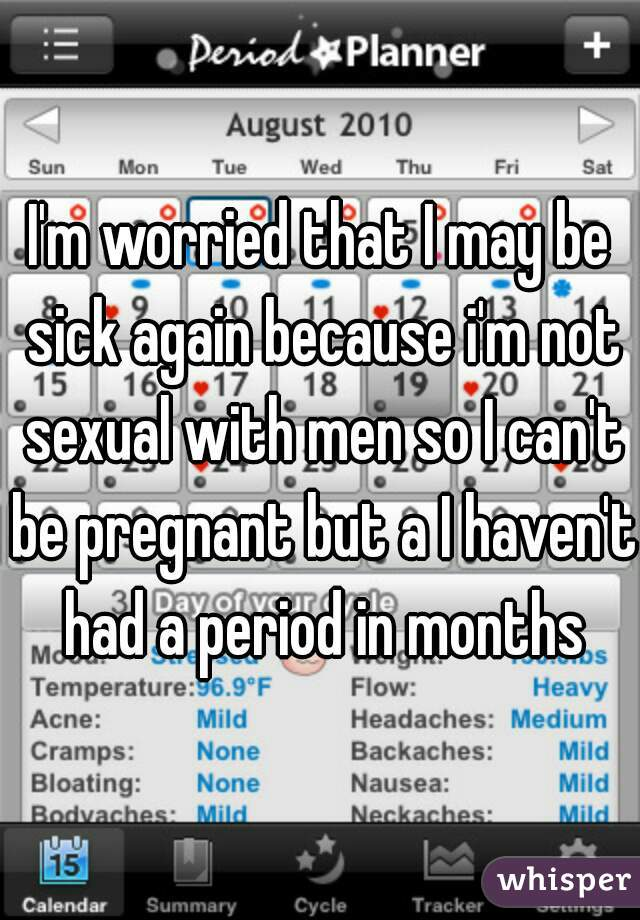 I'm worried that I may be sick again because i'm not sexual with men so I can't be pregnant but a I haven't had a period in months