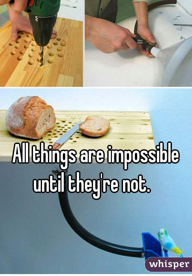 All things are impossible until they're not.