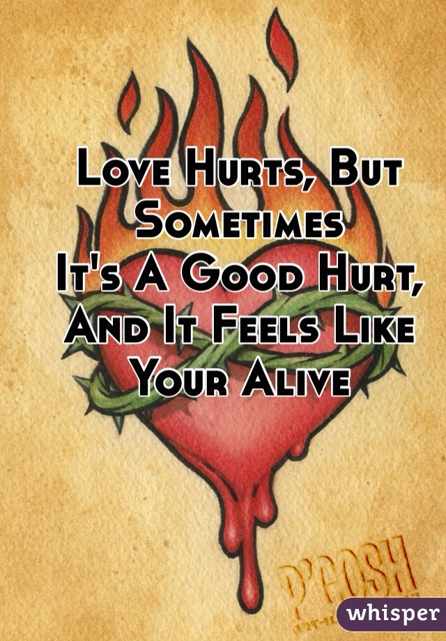 Love Hurts, But Sometimes  It's A Good Hurt,  And It Feels Like  Your Alive