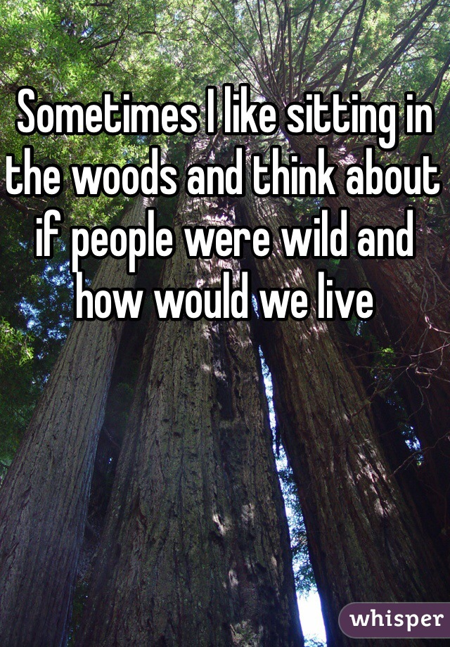 Sometimes I like sitting in the woods and think about if people were wild and how would we live