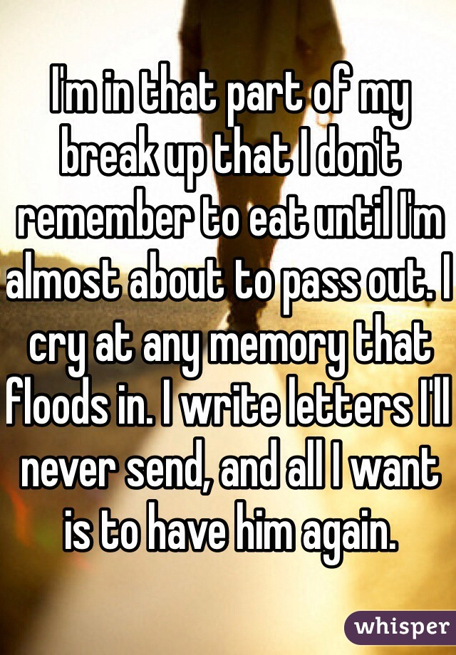 I'm in that part of my break up that I don't remember to eat until I'm almost about to pass out. I cry at any memory that floods in. I write letters I'll never send, and all I want is to have him again.