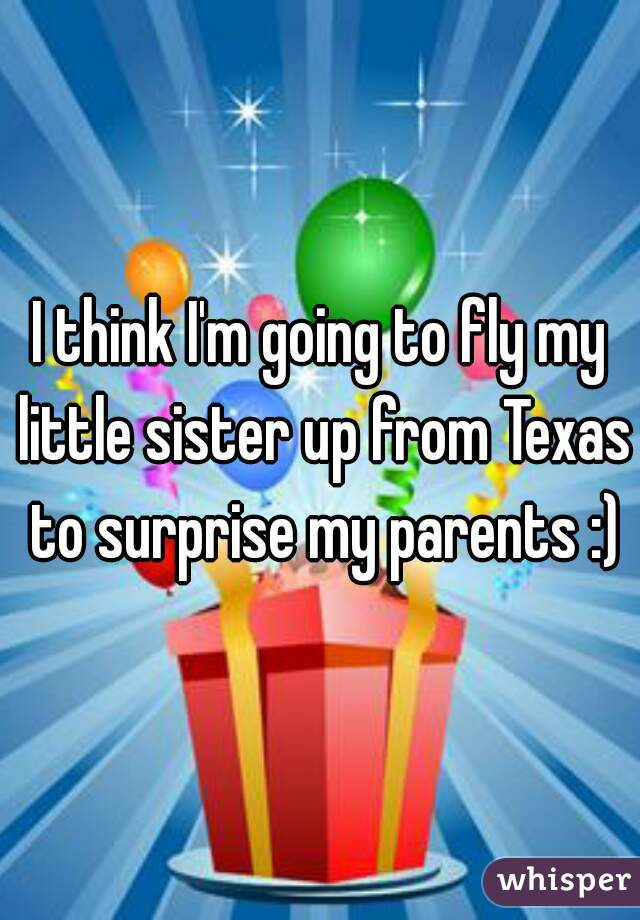I think I'm going to fly my little sister up from Texas to surprise my parents :)