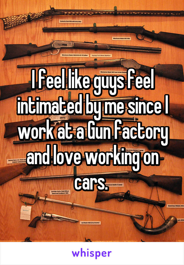 I feel like guys feel intimated by me since I work at a Gun factory and love working on cars.