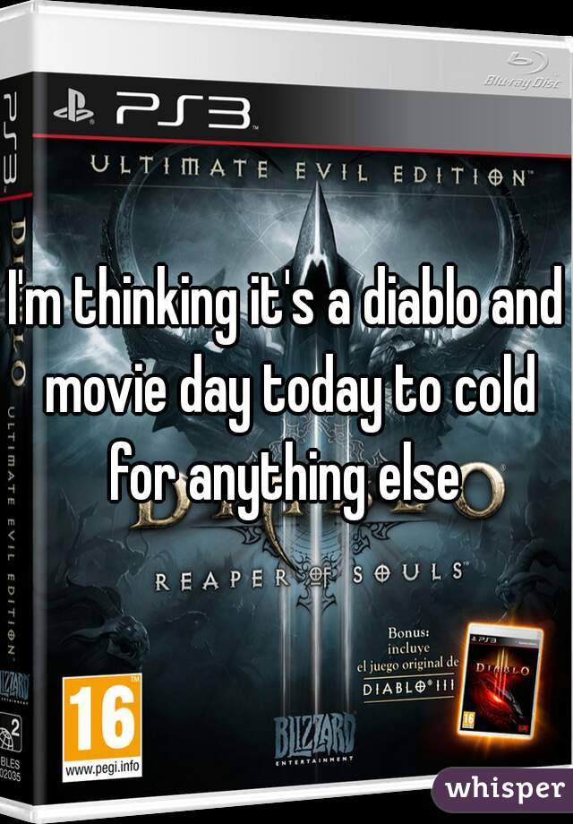 I'm thinking it's a diablo and movie day today to cold for anything else