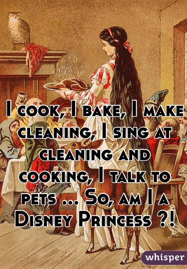 I cook, I bake, I make cleaning, I sing at cleaning and cooking, I talk to pets ... So, am I a Disney Princess ?!