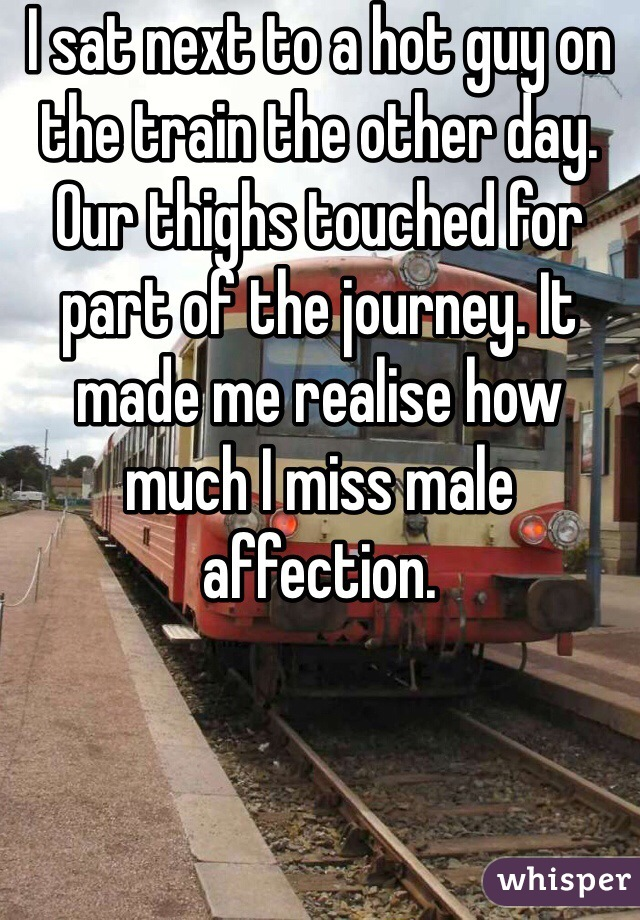 I sat next to a hot guy on the train the other day. Our thighs touched for part of the journey. It made me realise how much I miss male affection.