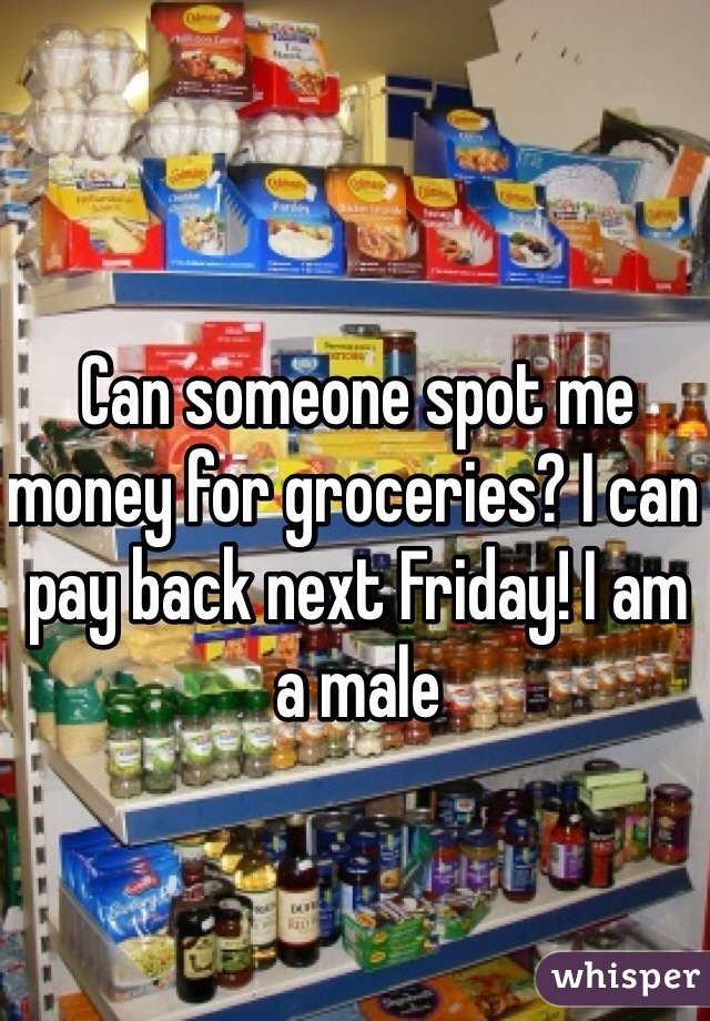 Can someone spot me money for groceries? I can pay back next Friday! I am a male