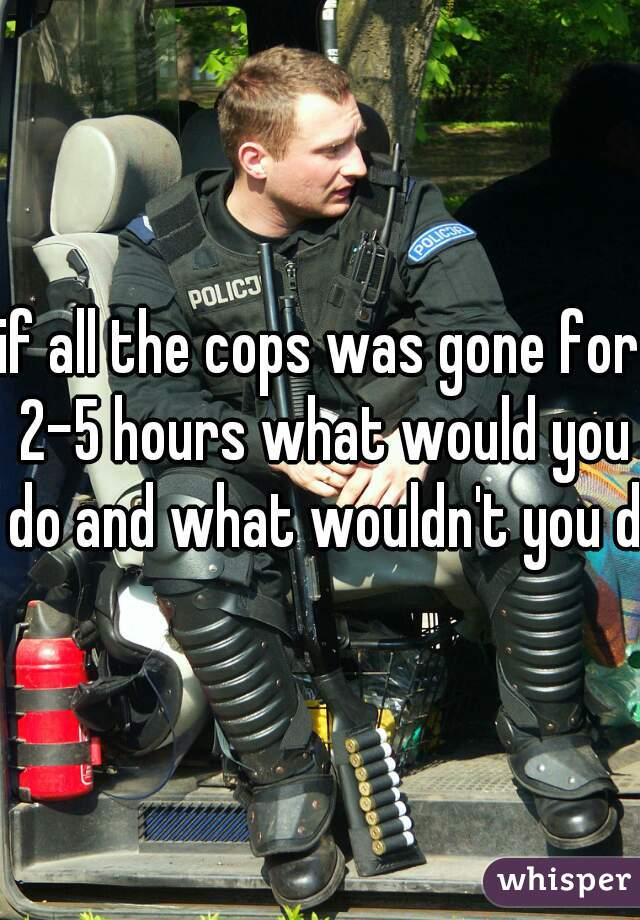 if all the cops was gone for 2-5 hours what would you do and what wouldn't you do