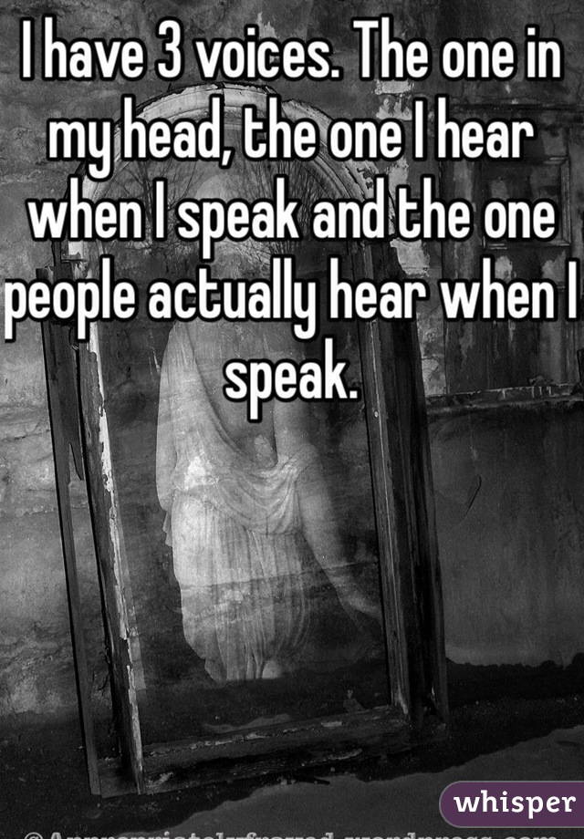 I have 3 voices. The one in my head, the one I hear when I speak and the one people actually hear when I speak.
