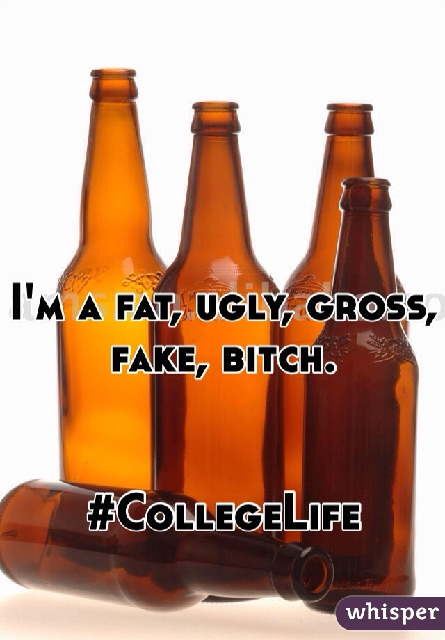 I'm a fat, ugly, gross, fake, bitch.   #CollegeLife