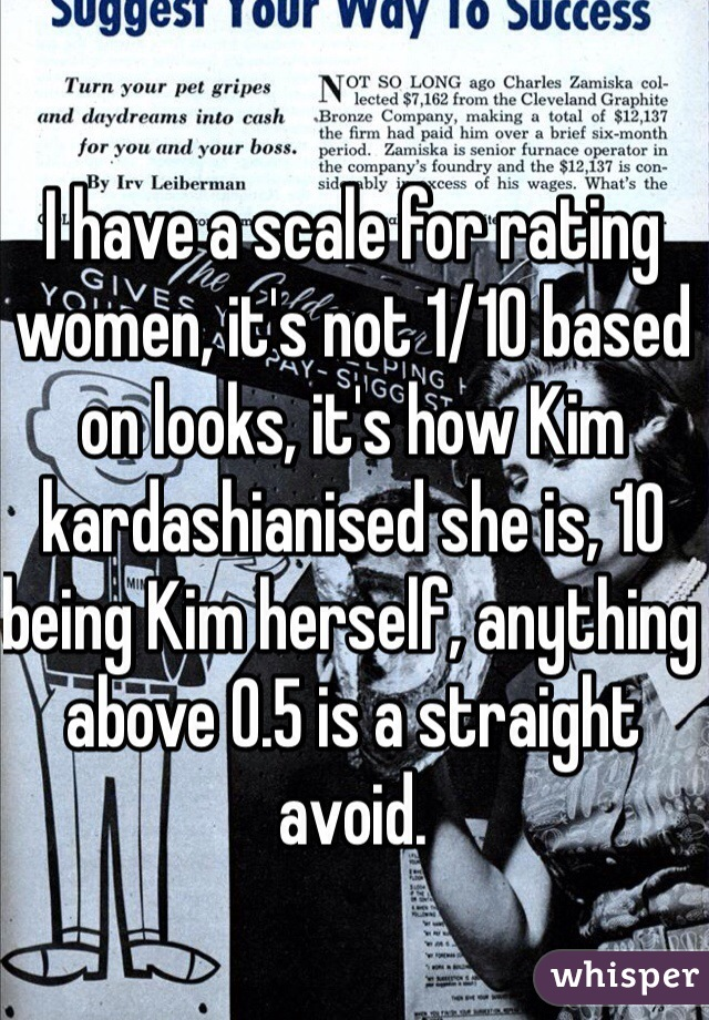 I have a scale for rating women, it's not 1/10 based on looks, it's how Kim kardashianised she is, 10 being Kim herself, anything above 0.5 is a straight avoid.