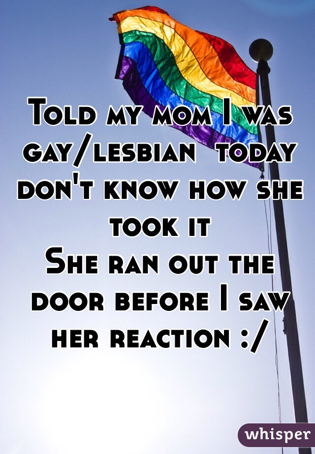Told my mom I was gay/lesbian  today don't know how she took it  She ran out the door before I saw her reaction :/