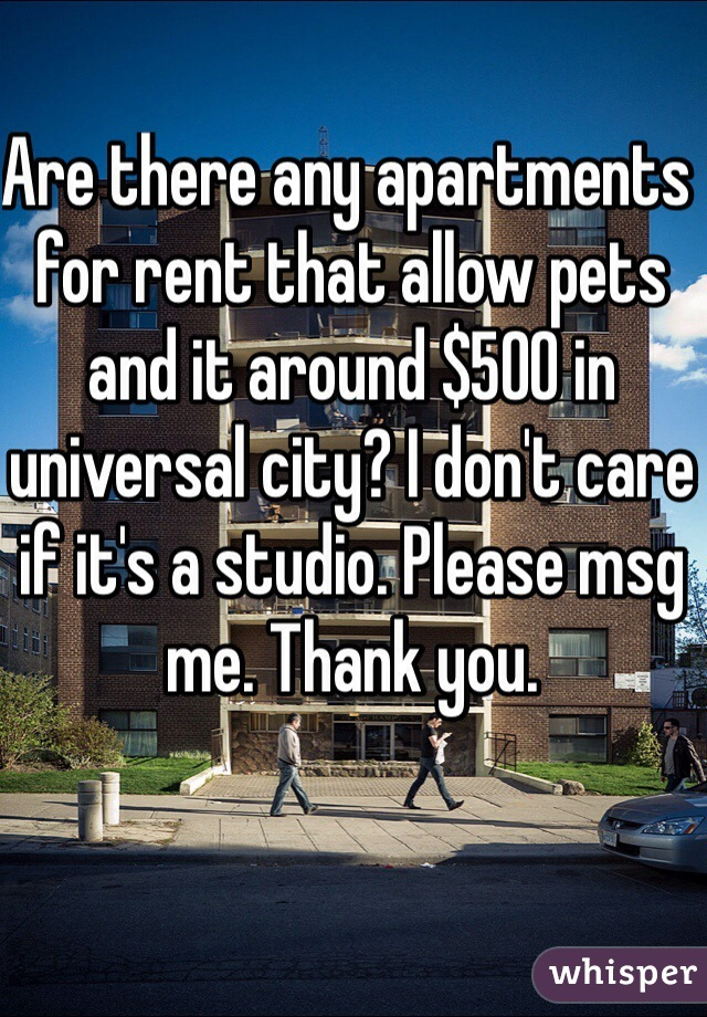 Are there any apartments for rent that allow pets and it around $500 in universal city? I don't care if it's a studio. Please msg me. Thank you.