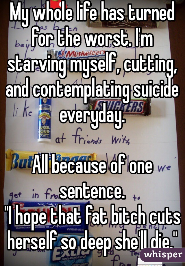 """My whole life has turned for the worst. I'm starving myself, cutting, and contemplating suicide everyday.  All because of one sentence. """"I hope that fat bitch cuts herself so deep she'll die."""""""