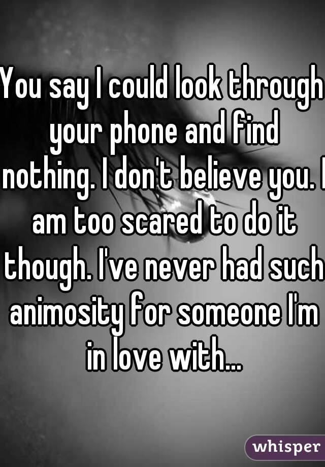 You say I could look through your phone and find nothing. I don't believe you. I am too scared to do it though. I've never had such animosity for someone I'm in love with...